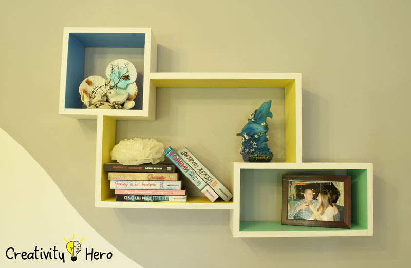 DIY Colorful Rectangular Wooden Wall Shelf 13