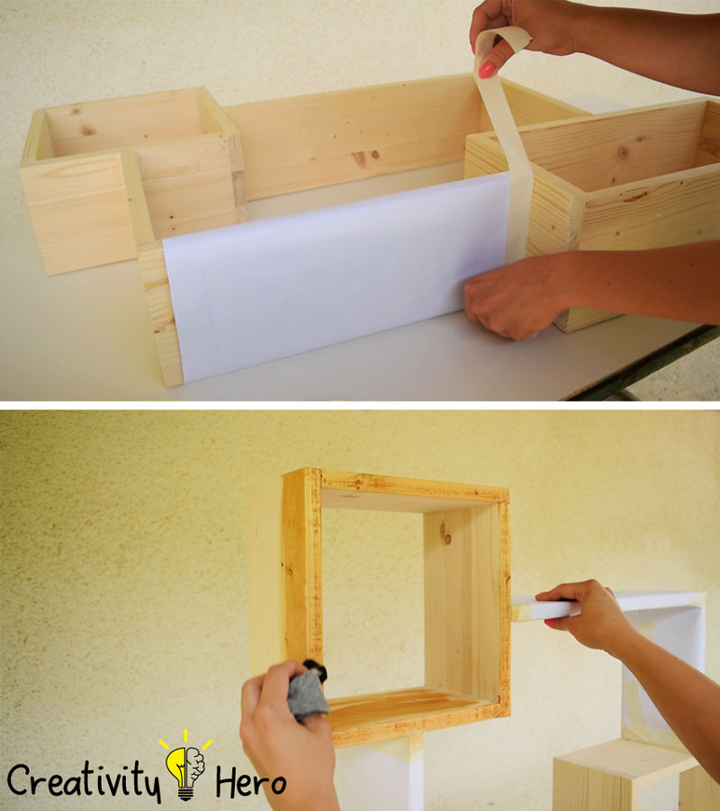DIY Colorful Rectangular Wooden Wall Shelf 8