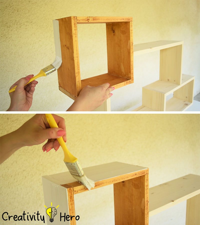 DIY Colorful Rectangular Wooden Wall Shelf - Creativity Hero