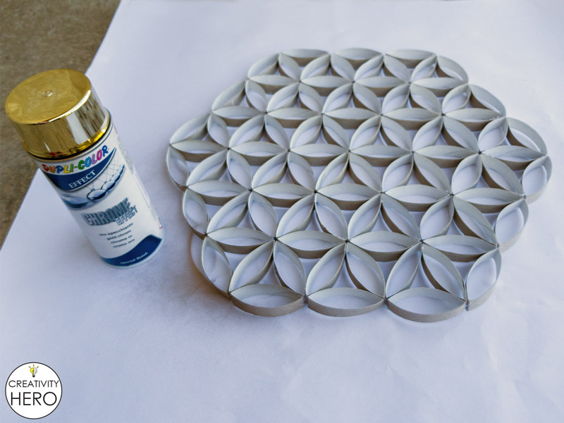 Wall Art How to Make Flower of Life Out of Toilet Paper Rolls 11
