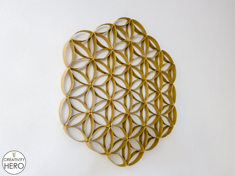 Wall Art How to Make Flower of Life Out of Toilet Paper Rolls 12