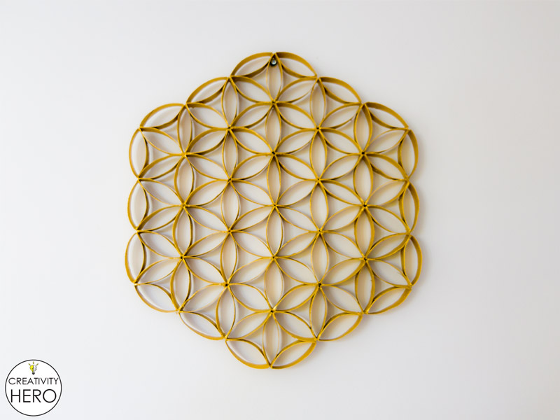 Wall Art How to Make Flower of Life Out of Toilet Paper Rolls 13