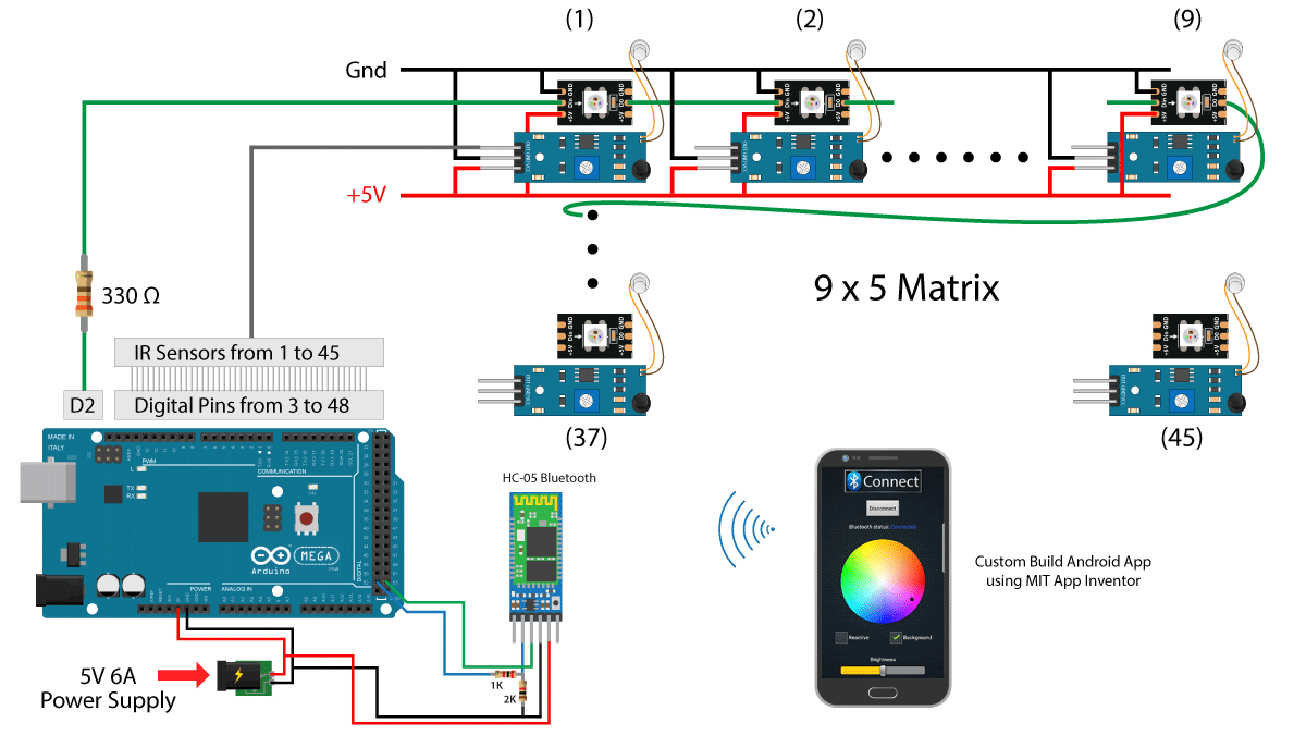 Diy Interactive Led Coffee Table Creativity Hero Schematic Diagram Of The Proximity Detector Circuit We Will Build This Is Complete Where You Can See How I Connected Everything Together For More Details On To Use Arduino In Combination With