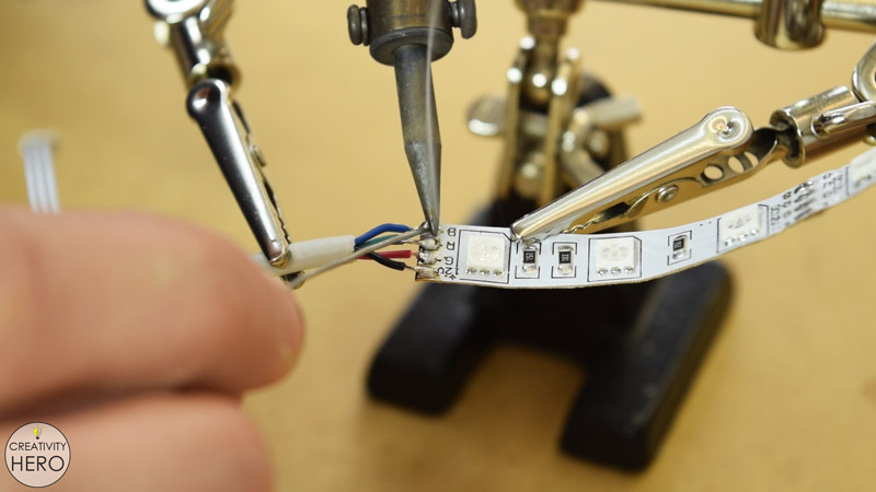 DIY Acrylic and Wood Color-Changing LED Lamp 17 - Soldering the controller to the coper pads