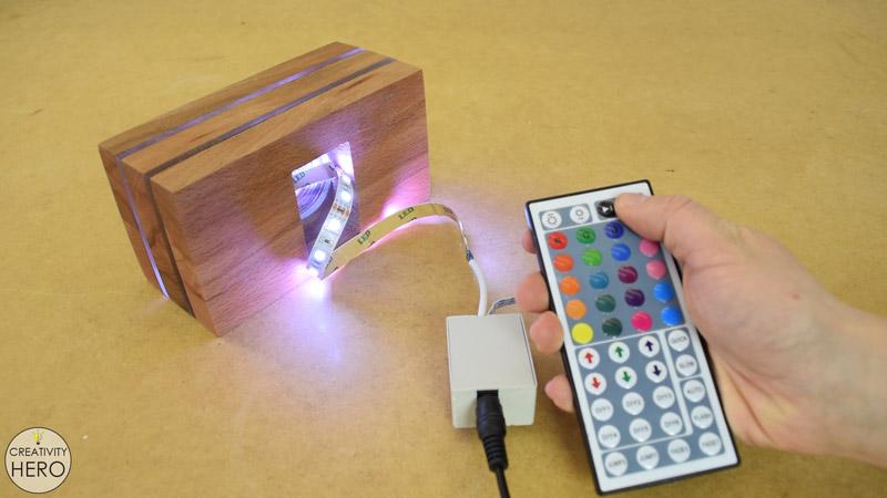 DIY Acrylic and Wood Color-Changing LED Lamp 18 - Testing if everything works properly