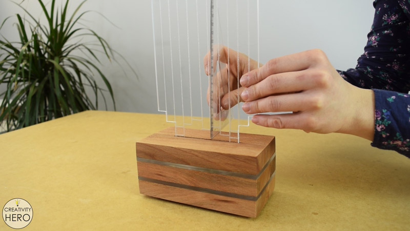 DIY Acrylic and Wood Color-Changing LED Lamp 21 - Securing the engraved acrylic piece into the slot