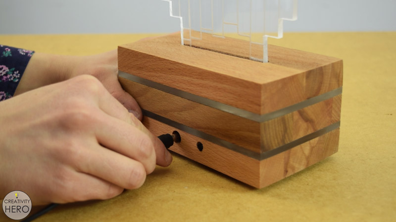 DIY Acrylic and Wood Color-Changing LED Lamp 22 - Plugging the adapter into the controller