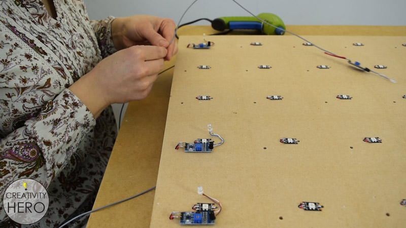 DIY Interactive LED Coffee Table 24 - Attaching the IR Proximity Sensors onto the MDF Board