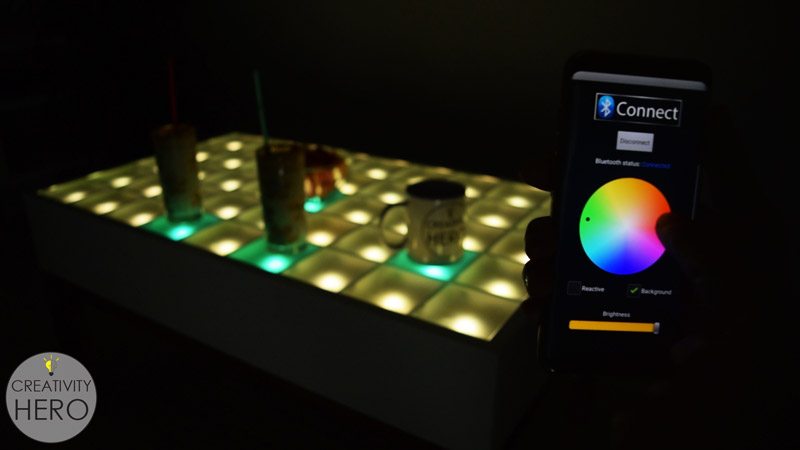 Diy interactive led coffee table creativity hero this interactive led coffee table turned out perfect i like every part of it including the design the color change and the brightness adjustment solutioingenieria Images